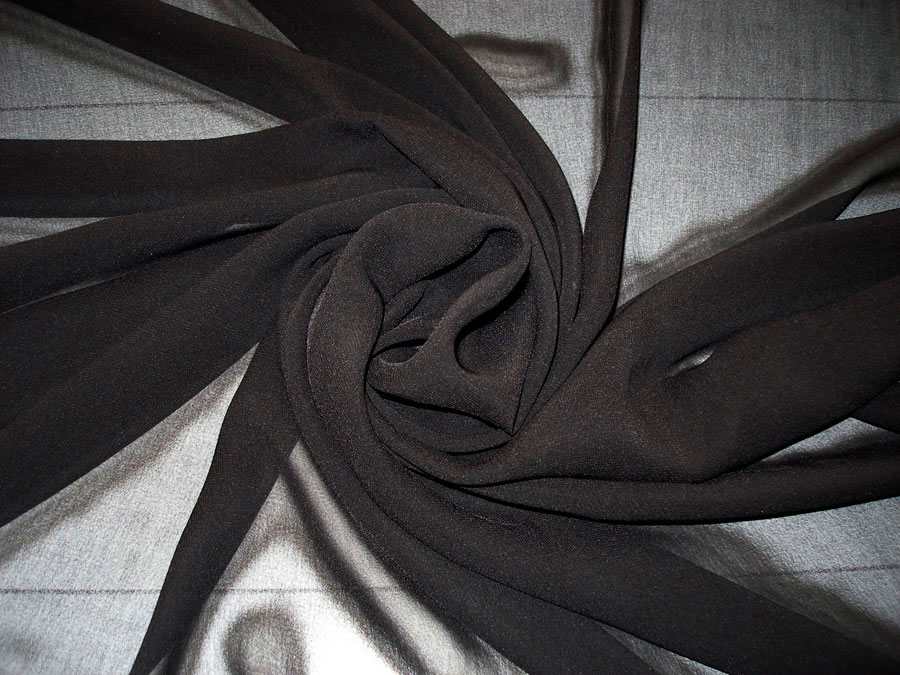 Шифон однотонный черный