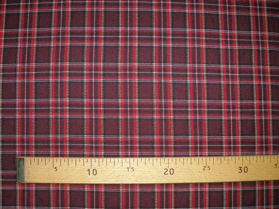 Шотландка, бордо (костюмная ткань)