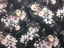 Лилии, черный (армани-шелк)