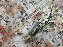Мозаика с лилиями (шелковый штапель)